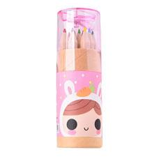12色桶裝彩色鉛筆(短-附削筆器)