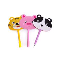 可愛動物原子筆扇