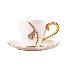 G&W 包鑽項鍊咖啡杯盤組(黑白)
